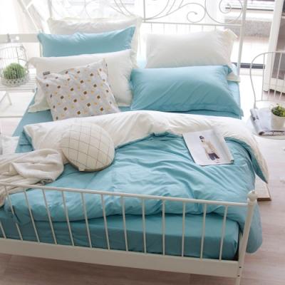 OLIVIA TWINS 湖綠X米白 加大雙人床包兩用被套四件組 MOC莫代爾棉 台灣製