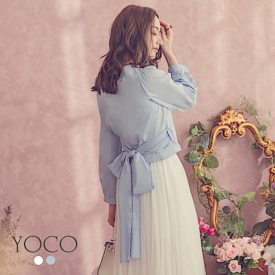 東京著衣-yoco 極致浪漫交叉V領澎澎袖後綁帶上衣-S.M.L(共二色)