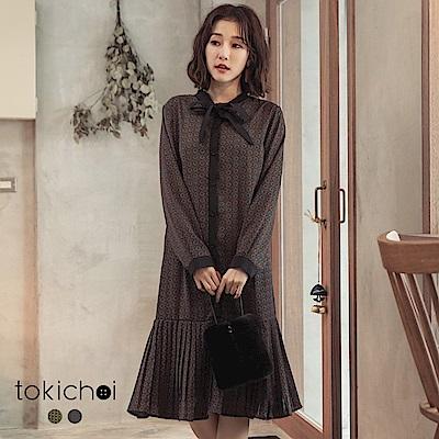 東京著衣 復古幾何圖案魚尾百褶裙擺洋裝(共二色)