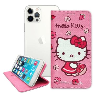 三麗鷗授權 Hello Kitty iPhone 12 / 12 Pro 6.1吋 櫻花吊繩款彩繪側掀皮套