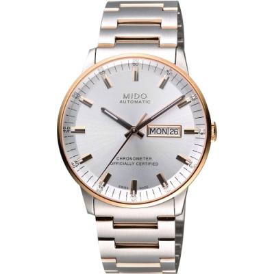 MIDO 美度 Commander 香榭系列天文台機械腕錶-銀x玫瑰金框/40mm M0214312203100
