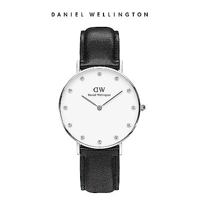 DW 手錶 官方旗艦店 34mm銀框 Classy 爵士黑真皮鑽石錶