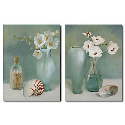 橙品油畫布-兩聯式直幅 掛畫無框畫-貝殼與花-30x40cm