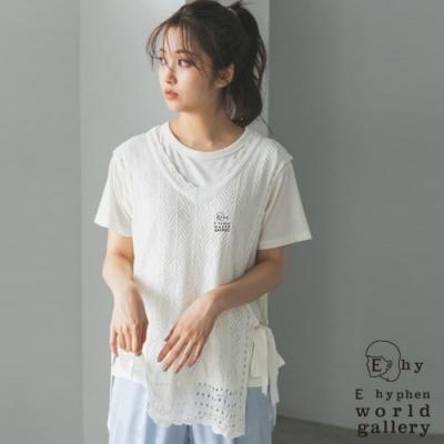 E hyphen 【SET ITEM】鏤空綁帶V領背心+素面短袖T恤