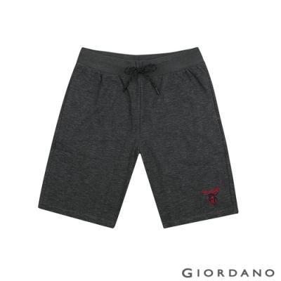 GIORDANO 男裝麋鹿刺繡針織短褲-42 仿段彩黑