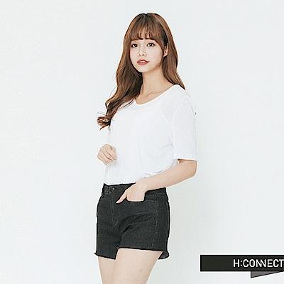 H:CONNECT 韓國品牌 女裝-小V領素面T-shirt-白