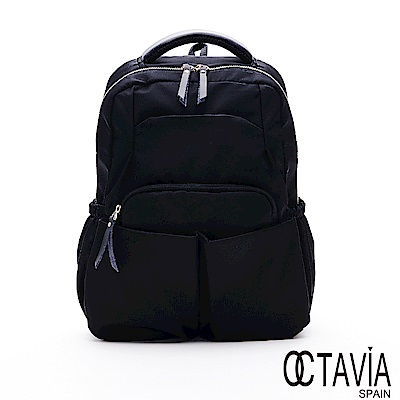 OCTAVIA8 -  學院時代 尼龍多口袋功能厚實後背包 - 認真黑