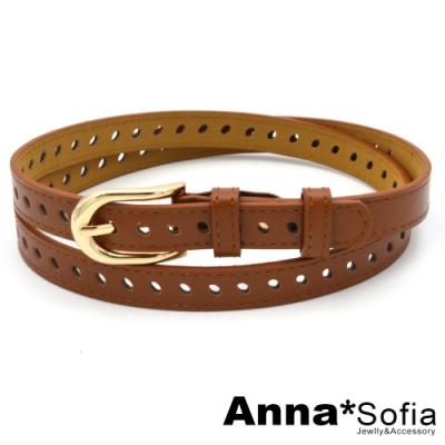 AnnaSofia 長金釦鏤斜橢洞 腰帶皮帶(咖駝)