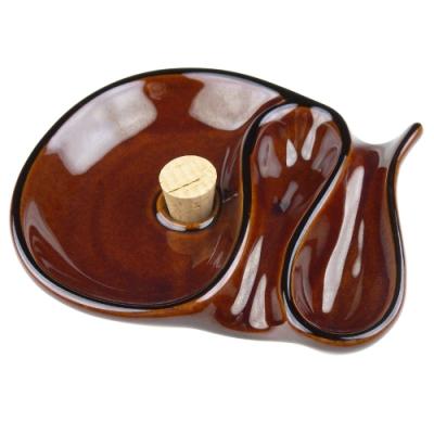 柘製作所-日本進口-陶瓷製煙灰缸-可置放兩支煙斗(茶色)