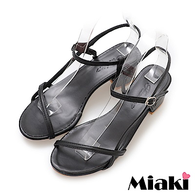 Miaki-涼鞋韓妞嚴選細帶高跟鞋-黑