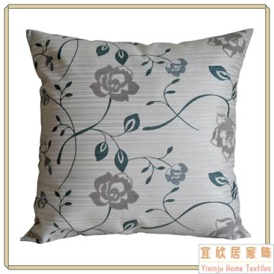 【宜欣居傢飾】愛戀薔薇-沙發絨布抱枕45*45cm -綠 (枕套含枕芯2入) 台灣製