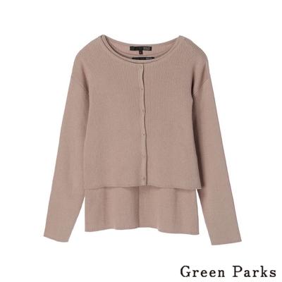 Green Parks 【SET ITEM】直條壓紋針織外套+圓領上衣