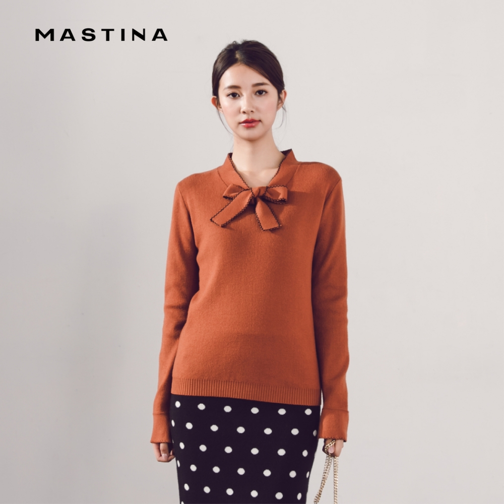 【MASTINA】舒適綁結領-針織衫(四色)