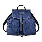 GUCCI經典GG LOGO印花尼龍牛皮陪襯雙口袋釦式翻蓋束口後背包(藍)