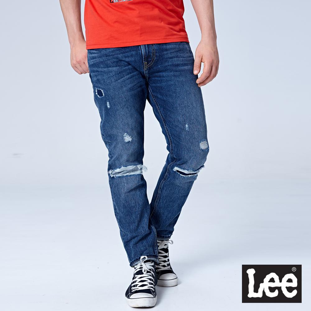 Lee 705中腰標準舒適小直筒牛仔褲/RG-中藍色
