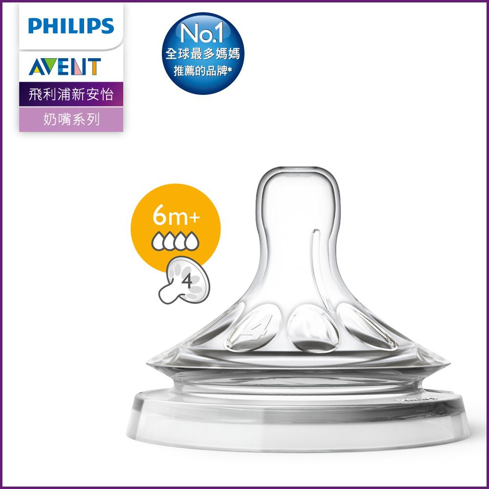 PHILIPS AVENT親乳感防脹氣奶嘴雙入裝 快流量 6M+ SCF654/23