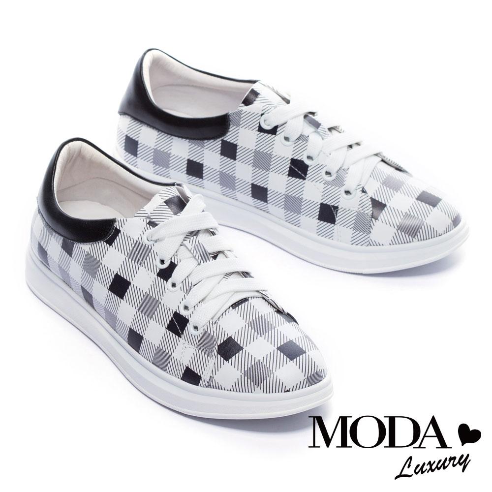 休閒鞋 MODA Luxury 經典格紋拼接全真皮厚底休閒鞋-黑