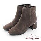 【CUMAR】中性之美簡約方頭金屬裝飾粗跟短靴-豆沙