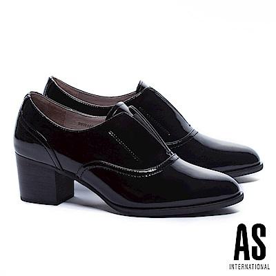 高跟鞋 AS 簡約主義全真皮尖頭牛津高跟鞋-黑