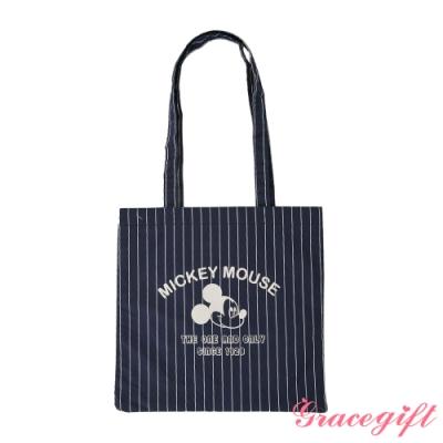 Disney collection by gracegift米奇絨布壓紋托特袋 藍