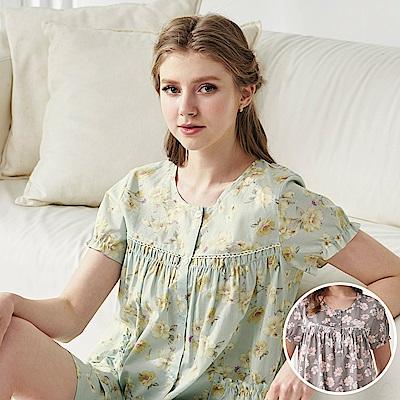 羅絲美睡衣 -夢幻花園短袖衣褲睡衣(海棠灰)