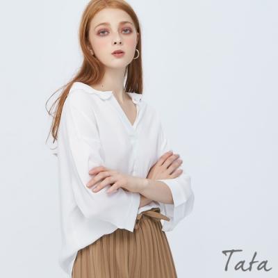交疊荷葉V領上衣 TATA-(M~XL)