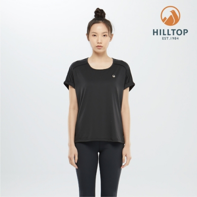 【hilltop山頂鳥】女款吸濕快乾彈性抗UVT恤S04FJ1魚子醬黑