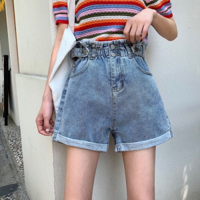 La Belleza花苞牛仔短褲荷葉鬆緊腰反釦高腰兩釦牛仔短褲