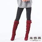 【麥雪爾】棉質水鑽皇冠字母刺繡刷毛褲