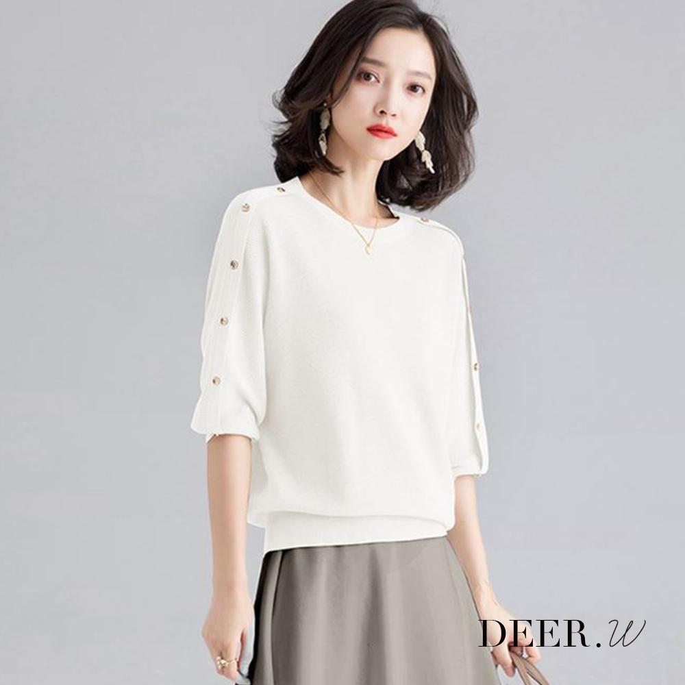 DEER.W 排釦七分連袖金絲針織上衣(白)
