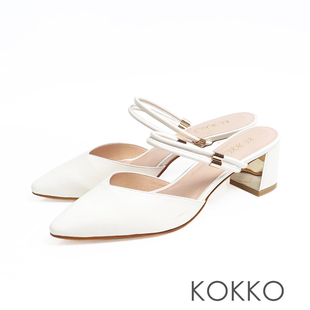 KOKKO優雅尖頭真皮2WAY鏡面粗跟鞋純白色