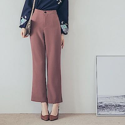 純色質感面料西裝寬褲-OB嚴選