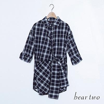 beartwo 簡約格紋腰帶設計襯衫(二色)