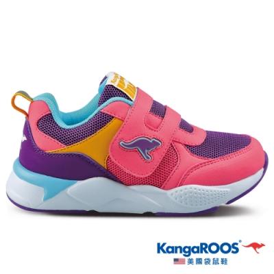 KangaROOS 美國袋鼠鞋 童鞋 MOTION色塊拼接跑鞋/休閒鞋/運動鞋(粉紅/紫-KK01313)