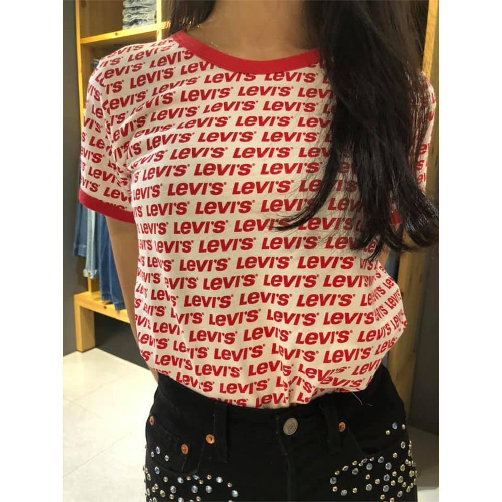 Levis 女款 短袖T恤 翻玩夏日Logo T 滿版字母Logo 中短版