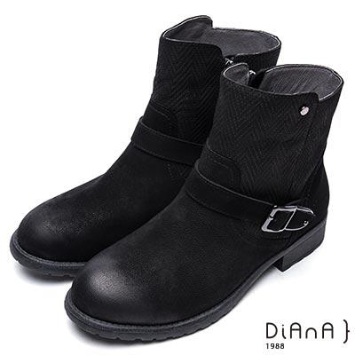 DIANA 簡約率性-經典方釦編織紋拼接鉚釘真皮工程靴-黑