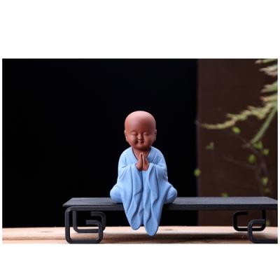 原藝坊 禪趣風 居家紫砂陶瓷茶寵套組 小和尚擺飾(祈福 )
