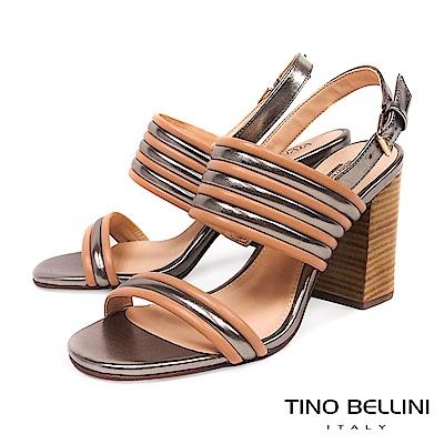 Tino Bellini 巴西進口跳色條帶高跟涼鞋 _ 杏