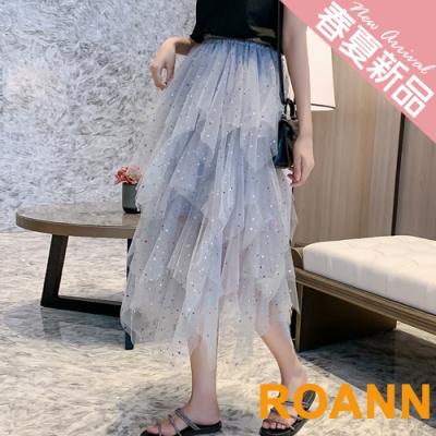 高腰亮片不規則網紗裙 (共二色)-ROANN