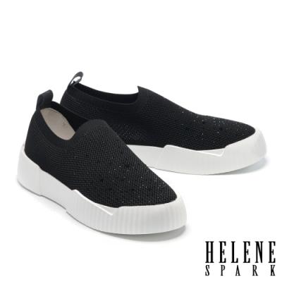休閒鞋 HELENE SPARK 率性時尚晶鑽厚底休閒鞋-黑