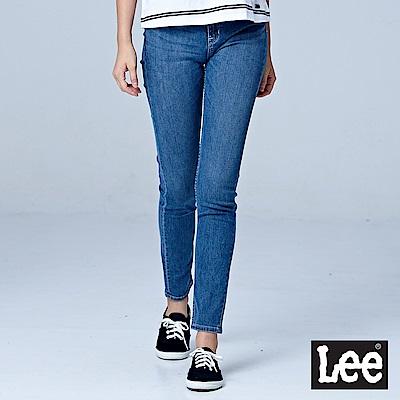 Lee 409中腰合身小直筒牛仔褲-中藍色