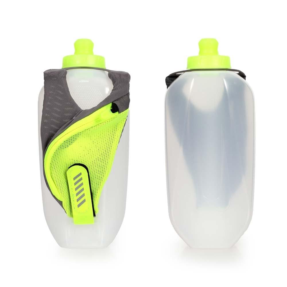 NIKE 輕量跑步手拿水壺20OZ-自行車 慢跑運動水壺 螢光黃灰