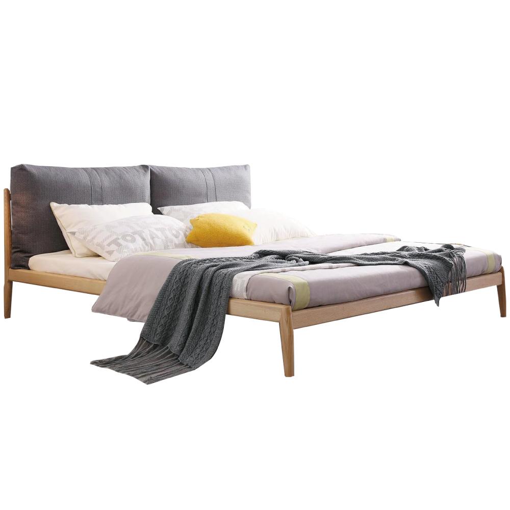 品家居 亞爾曼5尺亞麻布實木雙人床架(不含床墊)-160x213x91cm免組 @ Y!購物
