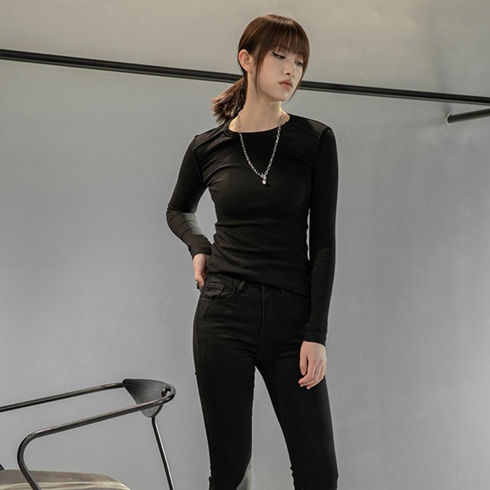 設計所在Style-翻邊反穿設計簡約彈力T恤 (黑色)