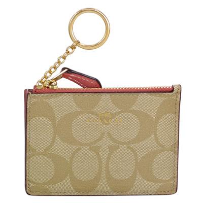 COACH淺卡C Logo珊瑚粉真皮後卡夾鑰匙零錢包