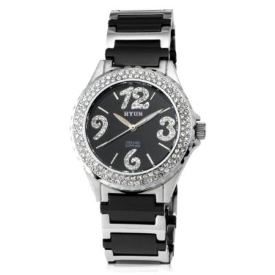 HYUN炫 鑽石設計陶瓷錶-黑陶瓷黑底白鑽