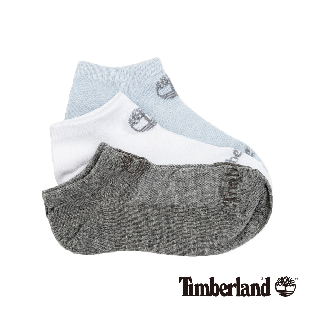 Timberland 女款灰白藍素色三件組船形襪|A1EOJ