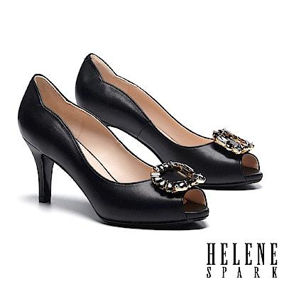 高跟鞋 HELENE SPARK 優雅迷人奢華鑽飾全真皮魚口高跟鞋-黑