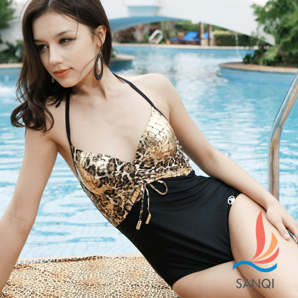 SANQI三奇 奢華貴族 一件式豹紋連身泳裝(金黃M.L)