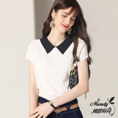 Mandy國際時尚 簡約線條大方冰絲針織短袖上衣 (1色)【法式服飾】